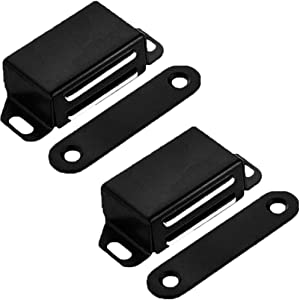 Kitchen Cabinet Magnets Closure WENJUUS 2 Pack Cabinet Magnetic Catch Strong Cupboard Door Magnets Heavy Duty 20 lbs Metal RV Drawer Latch Closet Closing Stainless Steel Shutter Hardware Closer-Black
