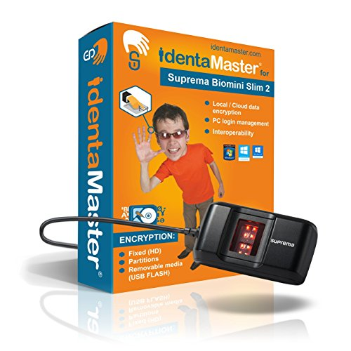IdentaMaster Biometric Security Bundle with Suprema BioMini Slim 2 Fingerprint Reader / Encryption, PC Login for Windows 7/8/10 by IdenaZone, Inc
