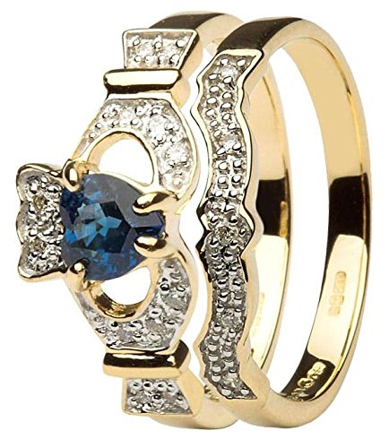 14K Yellow Gold Sapphire & Round Cut Diamond Claddagh Engagement Ring with Matching Wedding Band in All Sizes