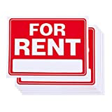 6-Pack of For Rent Real Estate Signs - Realtor Signs, PVC Signs, Real Estate Supplies for Renting Properties, Red and White - 15.7 x 11.7 Inches