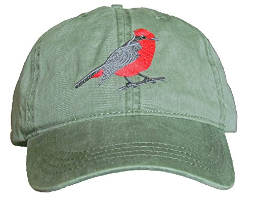 Flycatcher Antique - Vermillion Flycatcher Embroidered Cotton Cap