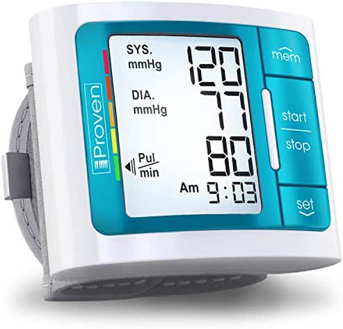[2019 Model] iProven Blood Pressure Monitor - Large Screen with Backlight - 60-Reading Memory - Blood Pressure Cuff for Wrist - Batteries Included - BPM-337BLU