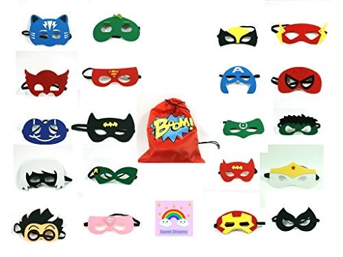 Superhero Party Supplies Superhero Masks - For Kids - Custom Design Superhero Bag - 20 PCs Different Party Favors Cosplay for Boys and Girls - Party Masks Photo Booth (Custom Photo Booth Props)