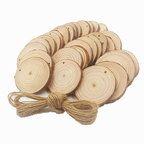 Natural Wood Slices 30 Pcs 2.4-2.8 Craft Wood Centerpiece Unfinished Predrilled with Hole Wooden Circles Great for Arts and Crafts Christmas Ornaments DIY Crafts