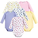 Luvable Friends Unisex Baby Long Sleeve Cotton Bodysuits, Floral 6-Pack, 3-6 Months (6M)