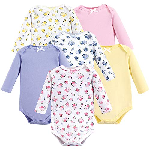 (Luvable Friends Unisex Baby Long Sleeve Cotton Bodysuits, Floral 6-Pack, 3-6 Months (6M))