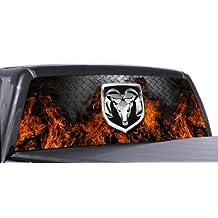 VuScapes - DODGE RAM FIRE D.PLATE - Rear Window Truck Graphic - decal suv view thru vinyl