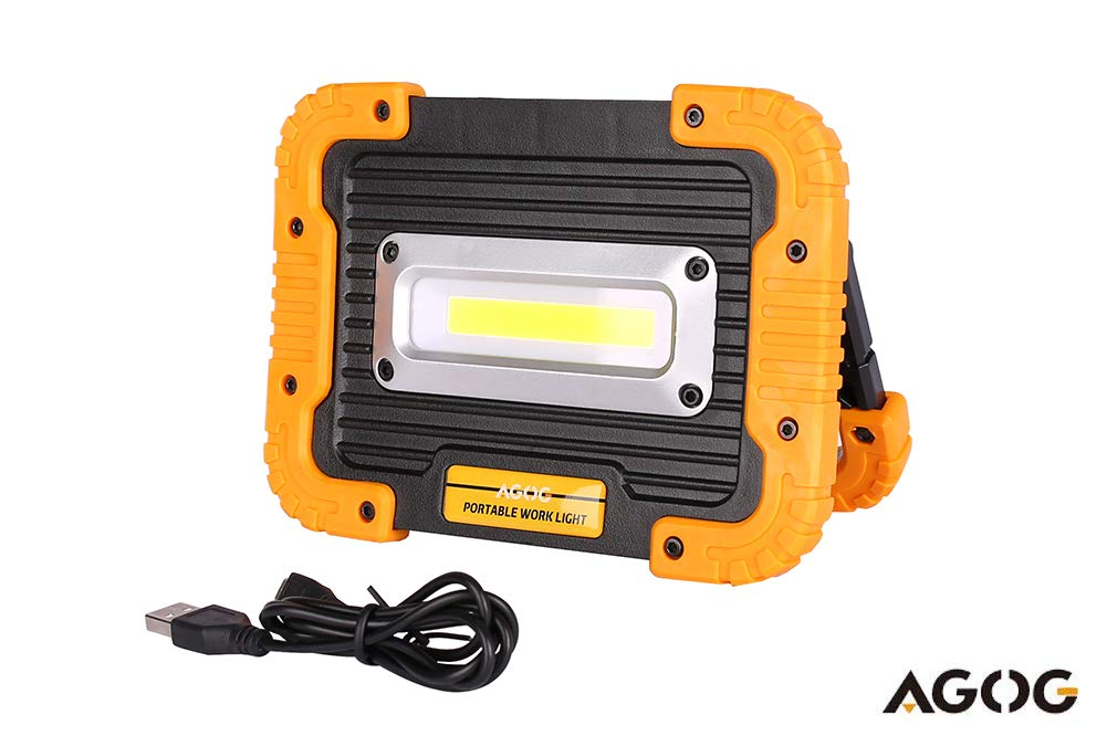 AGOG Portable 1000lumens 10W Ultra Bright LED Work Light, Outdoor Waterproof Flood Lights with Built-in Rechargeable Power Bank ,Four Models Include SOS Emergency Mode