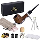 Joyoldelf Billiard Oak Tobacco Pipe Set, Wooden Smoking Pipe With Stainless Steel Pipe Display Holder, Cleaning Tool and Other Accessories