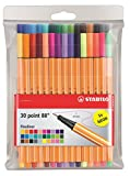 Stabilo Point 88 Fineliner Pens, 0.4 mm - 30-Color Wallet Set