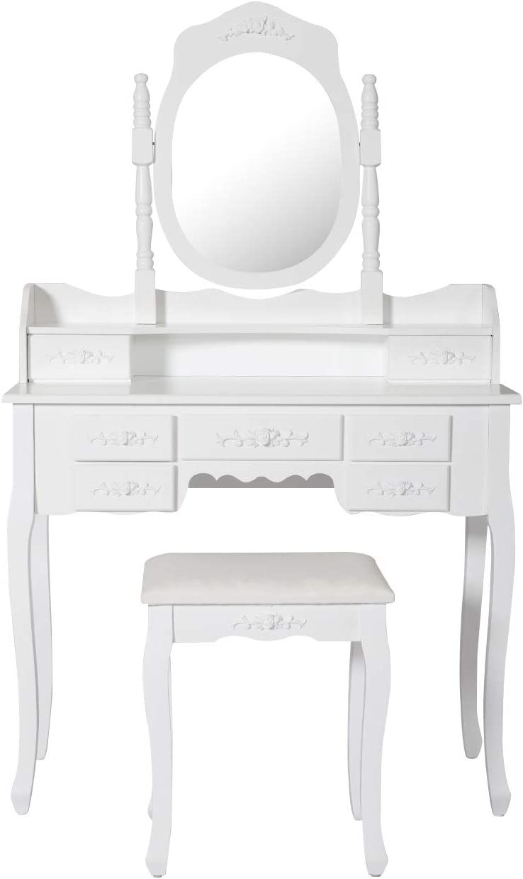 Peach Tree Makeup Vanity Dressing Table Set with Mirror Drawers, White