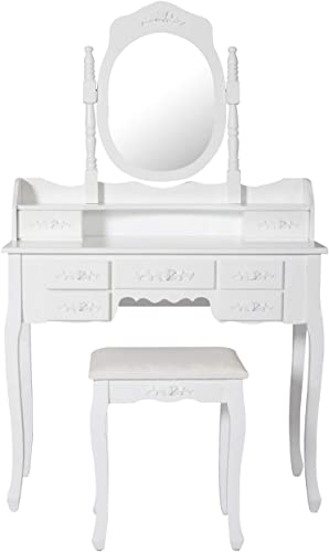 Peach Tree Vanity Table – Dressing Table with Mirror and Stool – Small Dressing Table Set with 7 Drawers – White Bedroom Makeup Table for Women