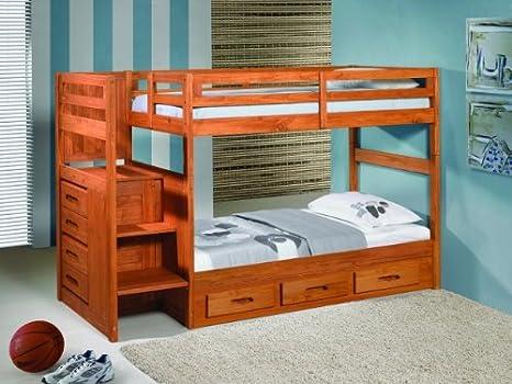 Escalera Paso litera cama con 3 cajones Underbed almacenamiento – canela acabado: Amazon.es: Hogar
