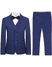 SWOTGdoby Boys Plaid Suits 3 Pieces Suit Set Blazer Vest Pants Formal 7 Colors for Wedding Party
