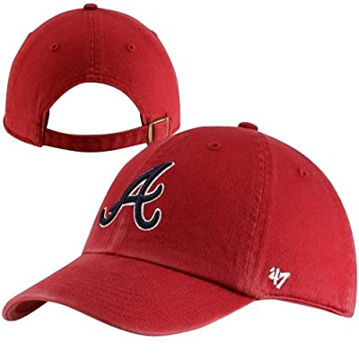 '47 MLB Atlanta Braves Men's Clean Up Cap, Red by Twins Enterprise/47 Brand