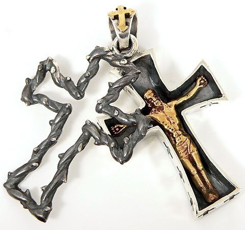 Crucifix Jesus Solid .925 Sterling Silver Christian Pendant for Harley Biker Rock by Infinity888