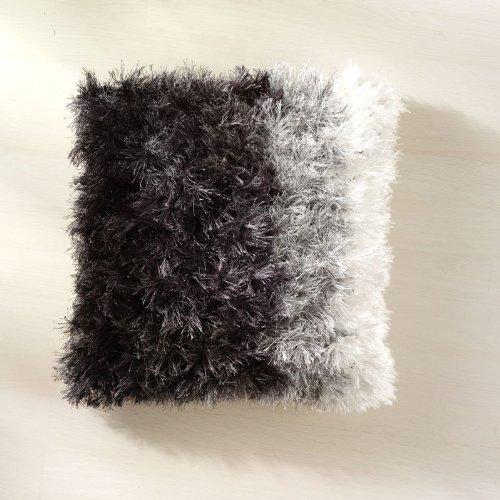 Funda de cojín de pelo largo Shaggy RAINBOW 50 x 50 cm plata ...