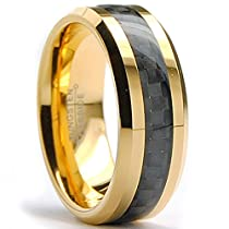 8MM Mens Goldtone Plated Tungsten Carbide Ring Wedding Band W/Black Carbon Fiber Inaly Sizes 7 to 15