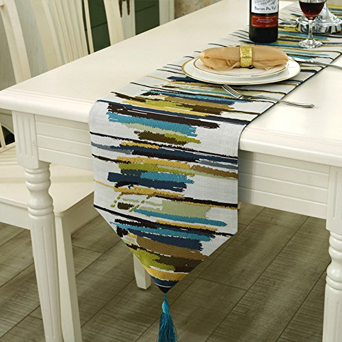 Modern Colorful Jacquard Weave Cotton and Linen Fabrics Table Runners with Tassels (11.5