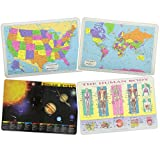 Painless Learning Educational Placemats for Kids USA and World Maps, Solar System, The Human Body Laminated Washable Reversible Activities Set of 4