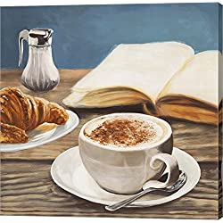 Cappuccino & Book by Sandro Ferrari Canvas Art Wall Picture, Gallery Wrap, 12 x 12 inches