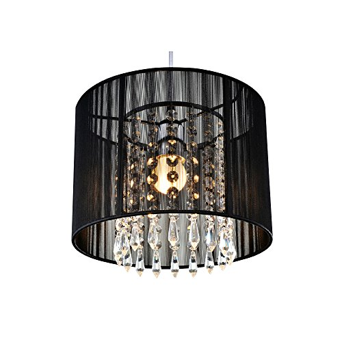TomDa Black Crystal Chandelier with 1 LED Bulb;Flush Mount Mini Style Pendant Chandelier Light Fixture for Kitchen, Dining Room