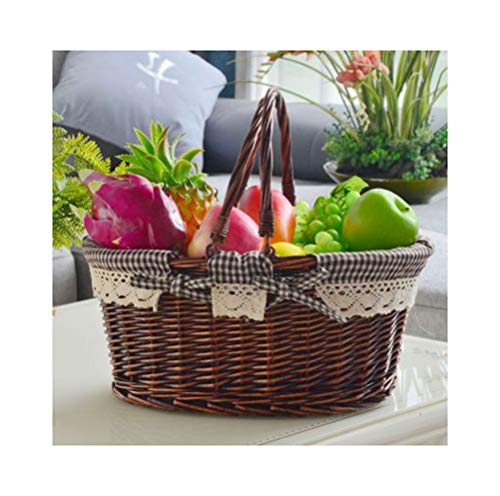 KDJHP Fruit Baske Willow Woven Outdoor Fruit Plate Outing Fruit Dish Picnic Fruit Tray Storage Compor -Fruit basket (color : C, Size : 36cm)