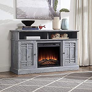 """BELLEZE 48"""" TV Stand Console W/Media Shelves for TVs up to 50"""" Wide with Fireplace and Remote Control, Light Grey"""