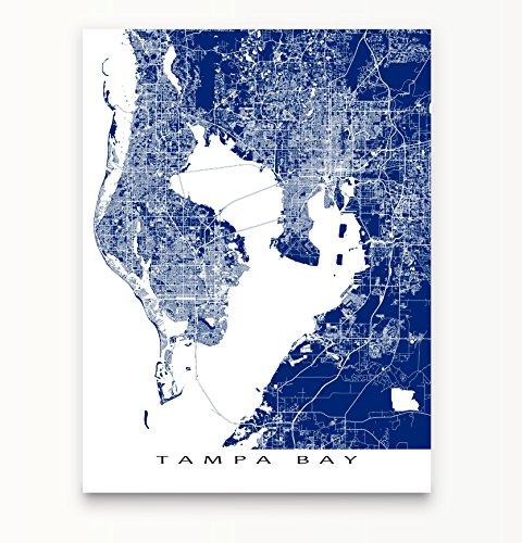 Tampa Bay Map Art Print  Florida  Fl  St Petersburg  Clearwater