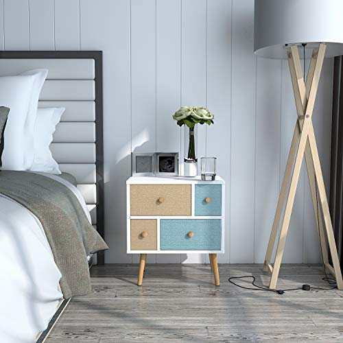 Lifewit Nightstand with 4 Fabric Drawers, Bedroom Side Table Bedside Table, Easy to Assemble, Sturdy and Durable, Small and Cute, White, 18.9 x 11.8 x 21.7 in ()