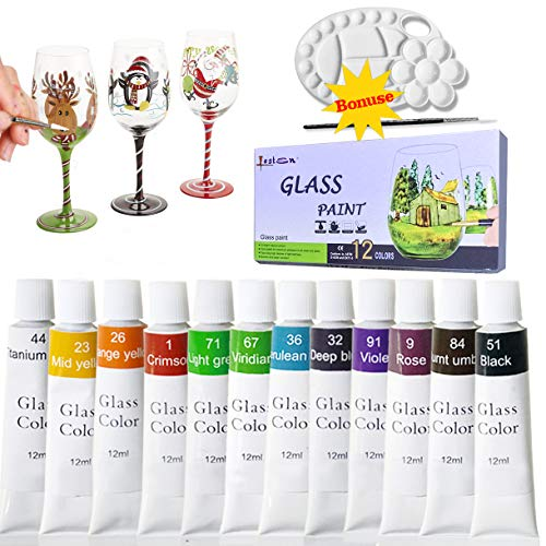 (12 Colors Stained Glass Paint,Craft Paints for Glass Wood Metal,Wine Bottle,Ceramic,12Ml(0.4 Fl oz) Sold by Lasten)