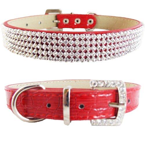 WwWSuppliers Crocodile PU Leather Bling Brilliant Sparkling Shine Flashy Rhinestones Adjustable Dog Puppy & Cat Luxury Cute Elegant Fashion Collar (Red, (Red Poodle)