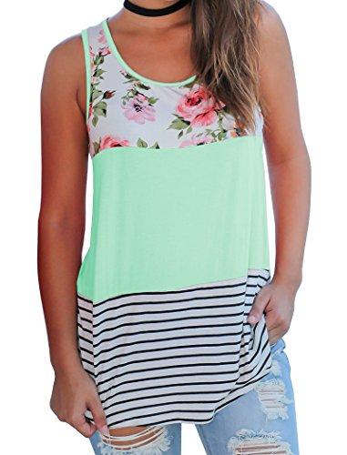 Halife Women's Striped Floral Print Tank Top Color Block Loose Sleeveless Shirt (Top Stripe Long)
