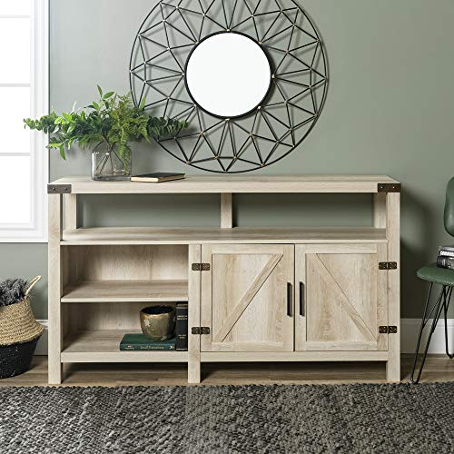 Home Accent Furnishings New 58 Inch Wide Barndoor Highboy Television Stand in White Oak Finish (Tv Oak Highboy Stand)