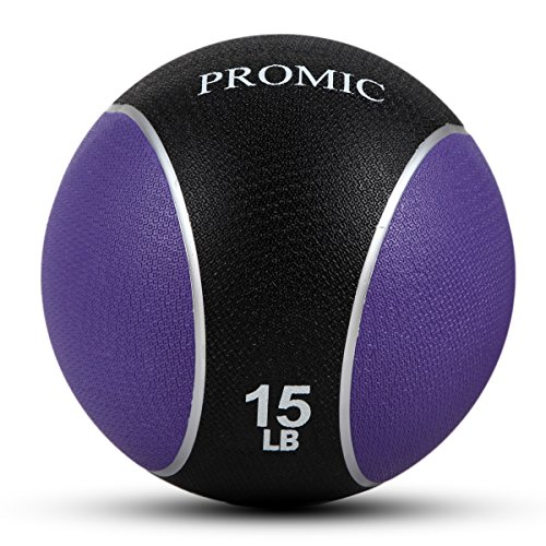 PROMIC Medicine Ball, Sturdy Rubber Construction Comfort Textured Grip for Strength Training (15-Pounds)