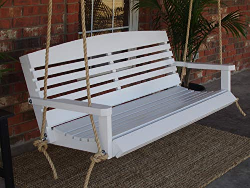 (THREE MAN Painted White American Porch Swing with Hanging Rope & Stainless Steel Hardware-5)
