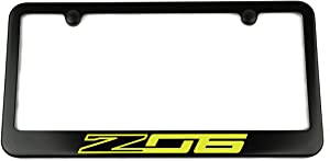 High-End Motorsports Chevrolet C7 Corvette Z06 License Plate Frame - Satin Black - Yellow