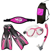 Ocean Pro Pink Snorkeling SET Fins (XS / M - 6 / 9) Mask Mesh Bag Strap Snorkel Kit Scuba Diving Freediving
