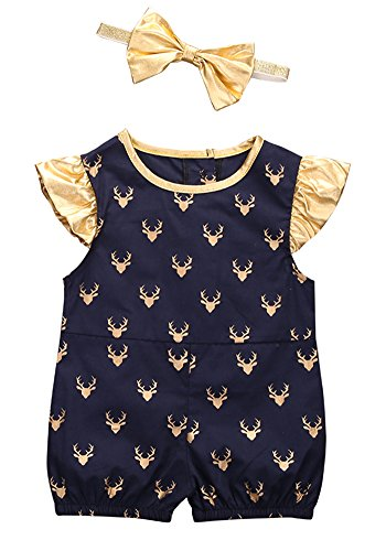 2style Baby Boy Girl Deer Dot Romper Short Sleeve Ruffle Outfit+Bowknot Headband (90(12-18M), Round-neck+Blue)