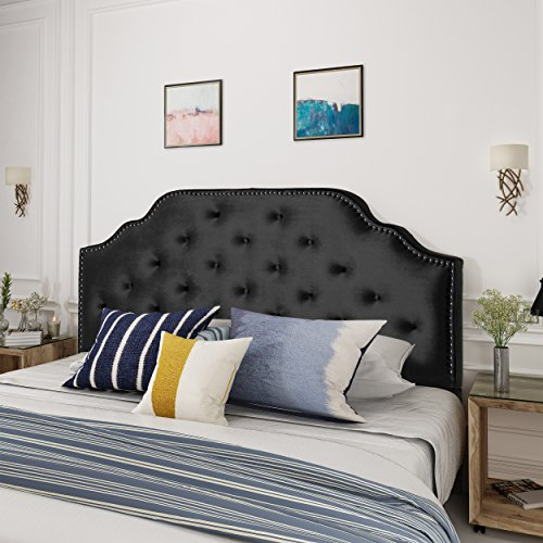 Falcon Black Velvet Queen/Full Headboard