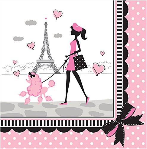 Creative Converting 18 Count Party in Paris Lunch Napkins, Pink/Black -