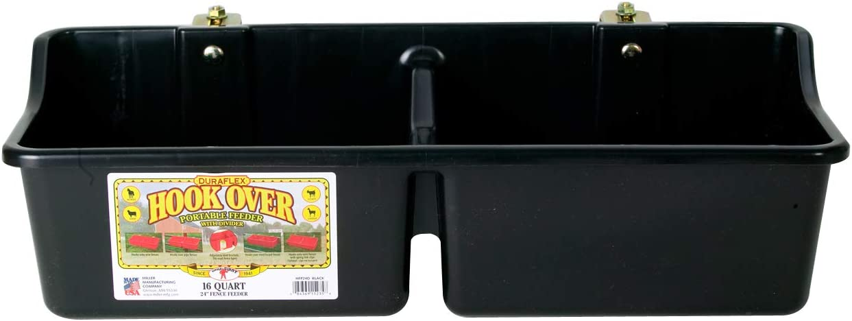 Little Giant Hook Over Portable Feeder with Divider (Black) Heavy Duty Plastic Mountable Feeding Trough for Livestock & Pets (16 Quart) (Item No. HFP24DBLACK)