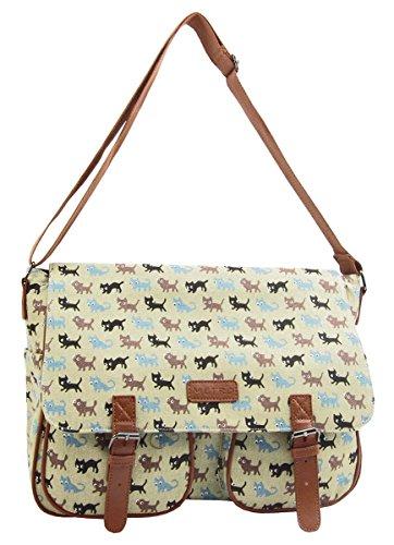 Quality Satchel XL A4 Handbag Long Shoulder Strap Bag School Girls Cross Body Messenger Green - Cats