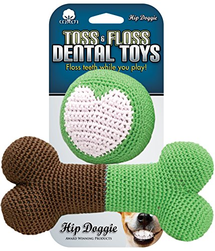 Hip Doggie Dental Dog Toy - Plush Squeaker - pet Teeth Cleaning Tool - chew Crochet to Floss - Natural and Healthy Plaque Remover for Good Tooth Care Hygiene - Bone and Ball Toys Set