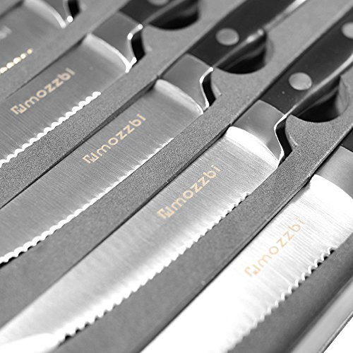 Premium Serrated Steak Knives 6-Piece Laser Cut Ultra-Sharp Stainless Steel Steak Knife, Cutlery Set,Dinner Knives Gift Set By Mozzbi. by Mozzbi (Image #3)