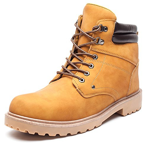 DRKA Men's Water Resistant Work Boots Comfortable Leather Plain Rubber Sole Industrial Construction Shoes for Male(17927-Wheat-46) by DRKA (Image #1)