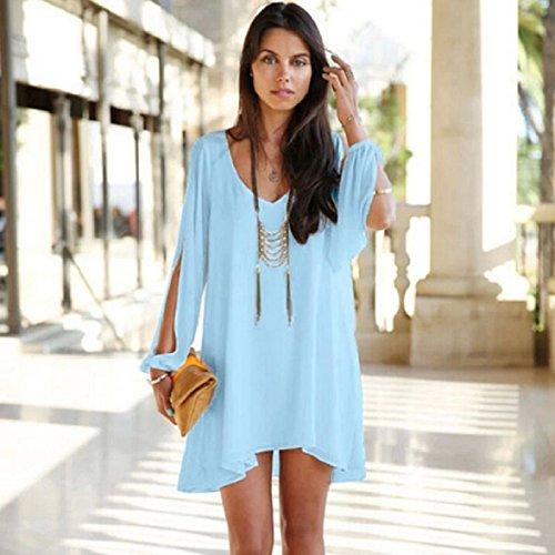 Culater® 1PC Femmes Estivale Parti Casual Soirée Cocktail Mini Robe Courte Bleu