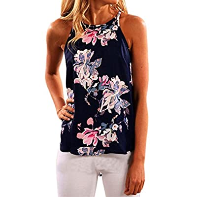 YANG-YI Women Sleeveless Flower Printed Top Casual Blouse Polyester Vest