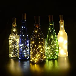 iGopeaks 6 Pcs Fairy String Lights Battery Operated Cork Lights for Wine Bottles Bottle DIY, Bedroom, Party, Table Decor, Christmas, Halloween, Wedding Centerpieces - Warm White