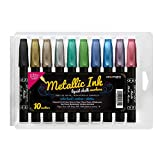 10 Pack Chisel Tip Metallic Chalk Markers, Great on Whiteboards Windows Mirrors Glass Surfaces and Non-porous Chalkboards – Bullet or Chisel Tip, Liquid Ink, Dust-Free, Non-toxic Water-based